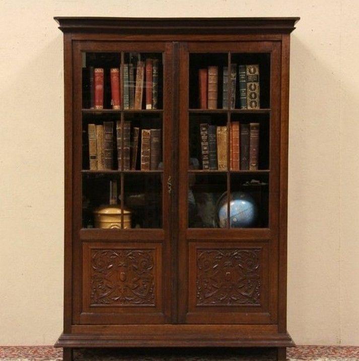Wood With Glass Doors Bookcase Bucherregal Aus Holz Schlafzimmer Schrank Regal Design
