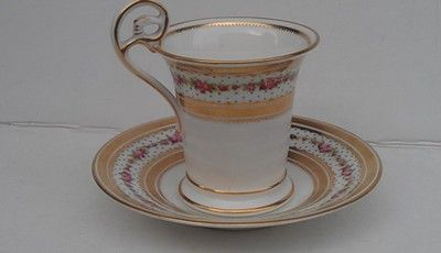 CUP AND SAUCER BY GEORGE JONES C1920  FOR NEW YORK RETAILER DAVID COLLAMORE