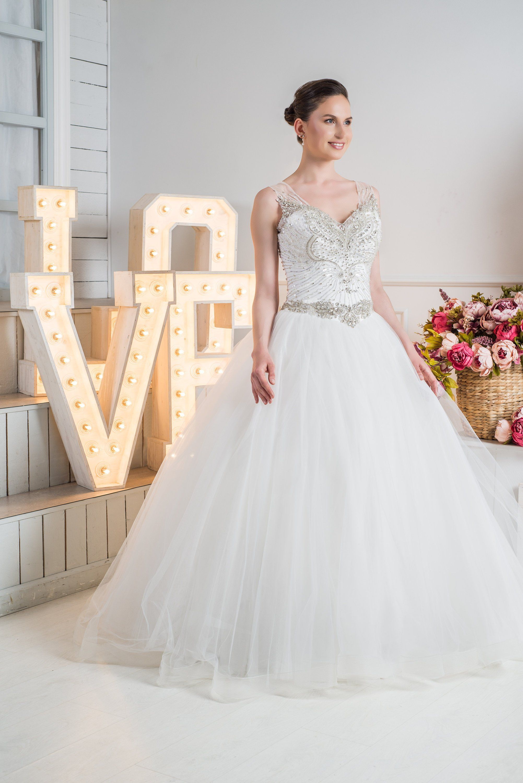 Stunning Crystal Beaded Unique Wedding Dress Cinderella