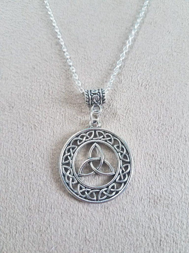 Silver Plated Celtic Triquetra Pendant Pagan Symbol Necklace