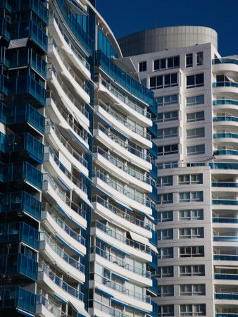 Condominiums in a City, Millennium Tower, Beverly Tower, Punta Del Este, Maldonado, Uruguay Lámina fotográfica
