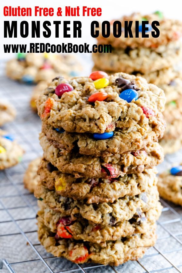 Monster Cookies are an incredibly delicious cookie to make and are normally made with peanut butter.  This nut allergy-friendly cookie is made with peanut-free peanut butter and they're gluten-free!  #peanutfree #allergyfriendly #nutfree #glutenfreecookies #nutfreecookies #monstercookies #christmascookies #glutenfreecookies #candy #tradition #cookierecipes