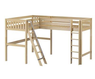 Maxtrix Highrise Corner High Loft Bed In Natural Wood Shop Loft