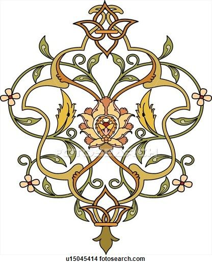Clipart Of Green Gold Orange Leaf Design U15045414 Search Clip Art Illustration Murals Drawings And Vector Eps Gr Pattern Art Arabesque Design Islamic Art
