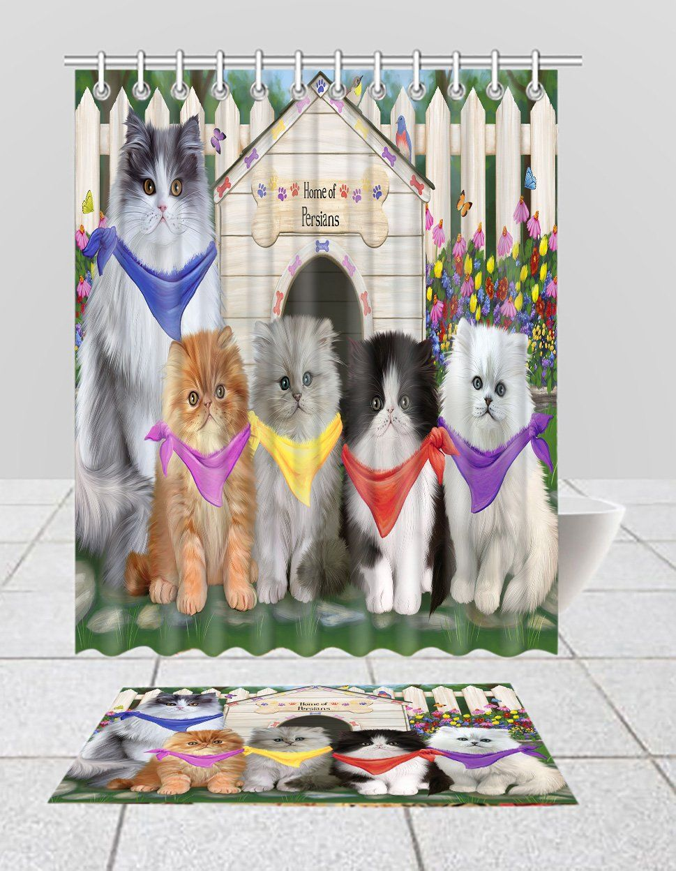 Spring Dog House Persian Cats Bath Mat And Shower Curtain Combo In