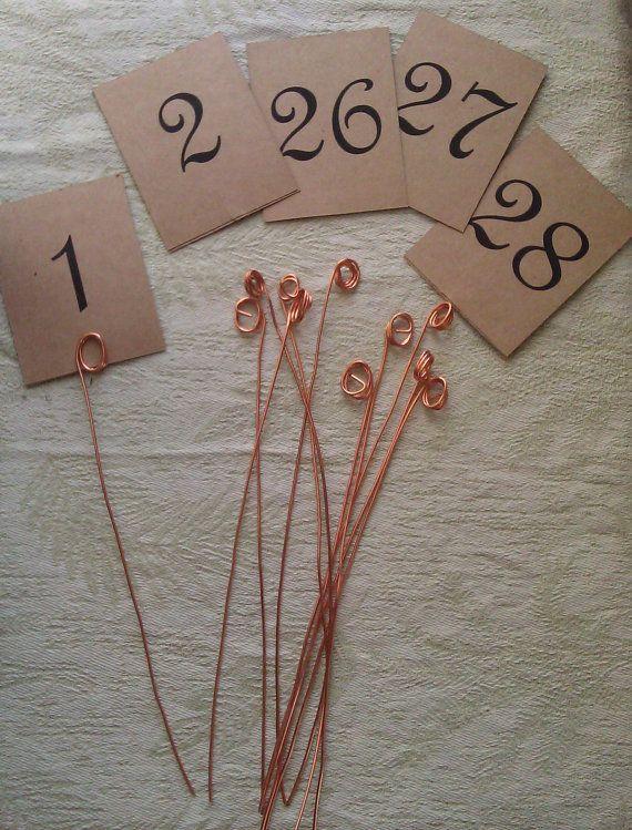 Copper Wire Table Number Holders And Card Von KristinaKraemerShop