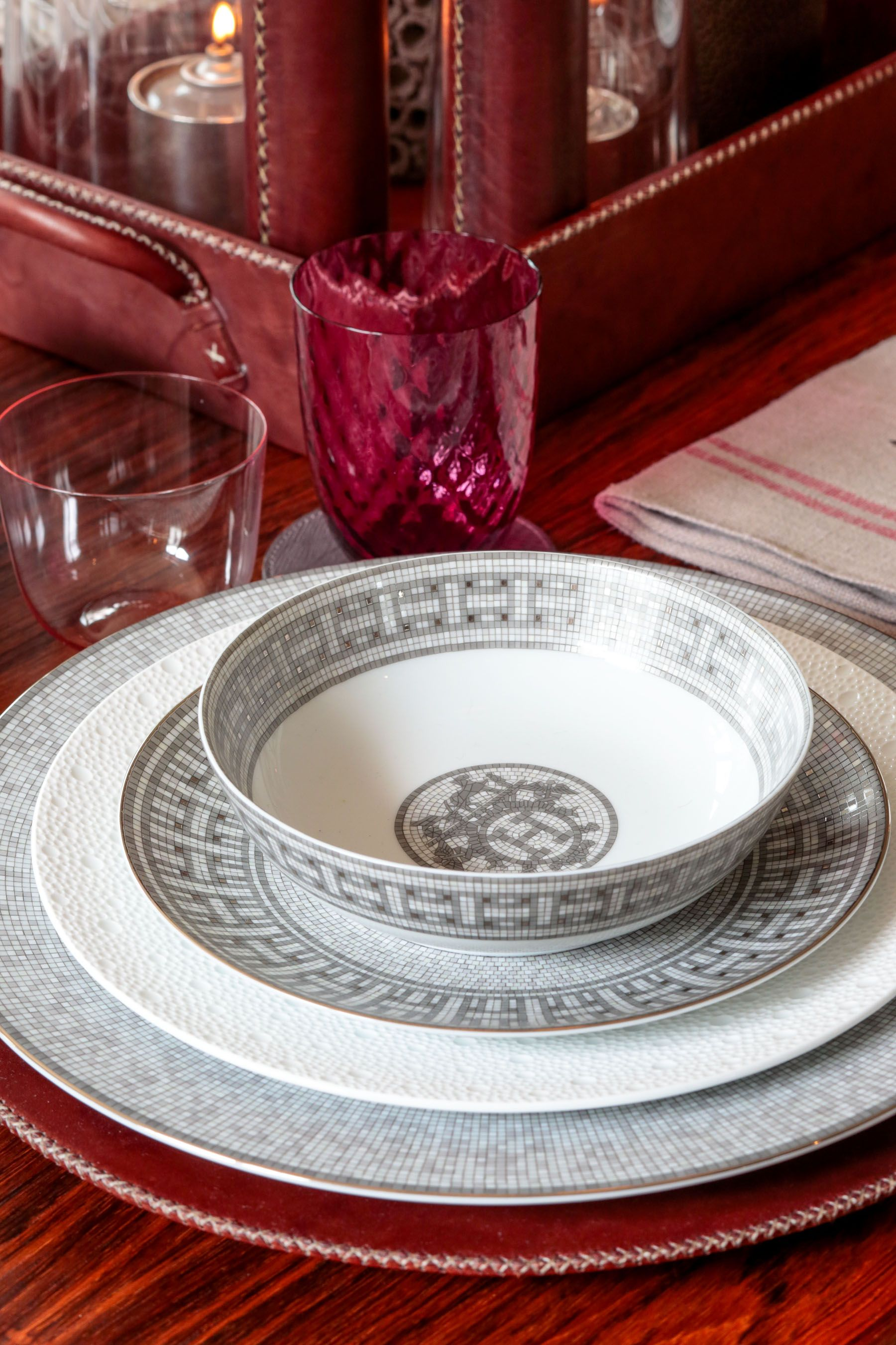 Hermes Mosaique au 24 Platine dinnerware paired with Bernardaud Egee and Sol Y Luna saddle leather & Hermes Mosaique au 24 Platine dinnerware paired with Bernardaud Egee ...