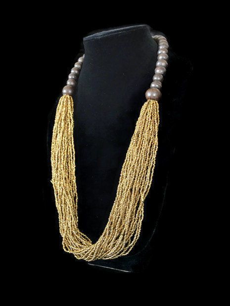 Golden #BeadNecklace #BohoNecklace #LayeringNecklace #ChunkyNecklace #FashionJewelry #StatementNecklace
