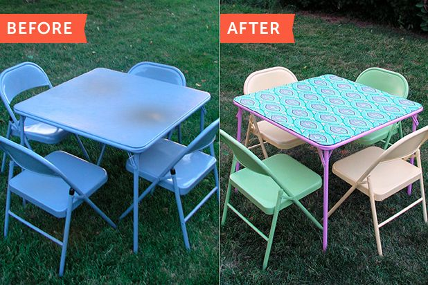 Before After Refinishing A Folding Card Table Ehow Card Table And Chairs Metal Folding Chairs Card Table Makeover