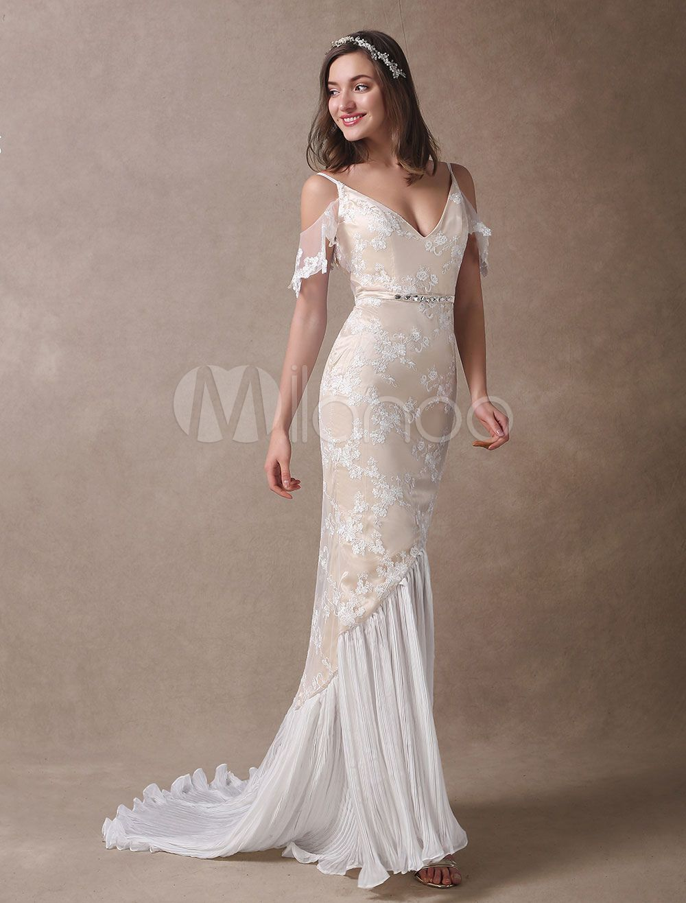 Boho wedding dresses champagne lace beach bridal dress mermaid v