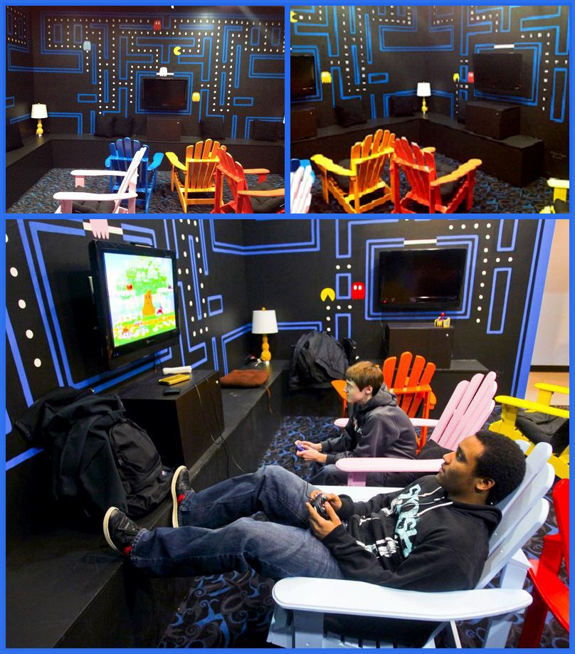 pac man themed video game room edge teen center. Black Bedroom Furniture Sets. Home Design Ideas