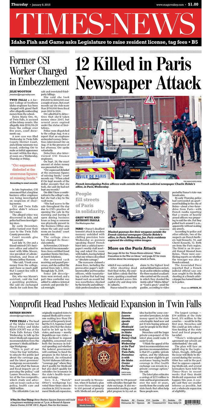 Today S Front Pages Newseum Paris Attack Twin Falls History
