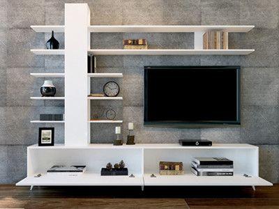 Tower White Entertainment Unit Living Room Tv Unit Tv Cabinet