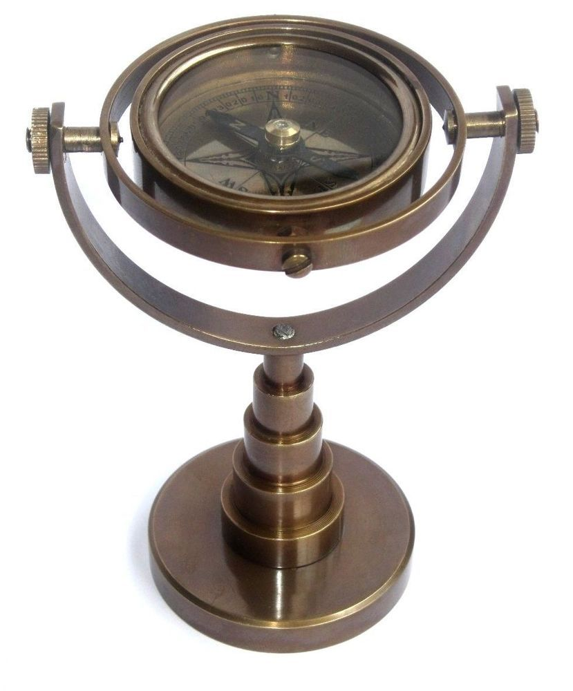 Antique Brass Nautical Ship S Gimbals Compass Marine Decor Vintage Compass Repro Compass Ebay Antiques