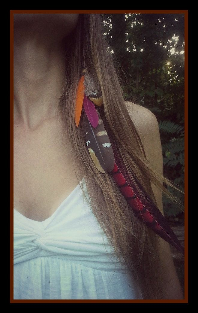 New To Dieselboutique On Etsy Fall Harvest Feather Hair Clip Long
