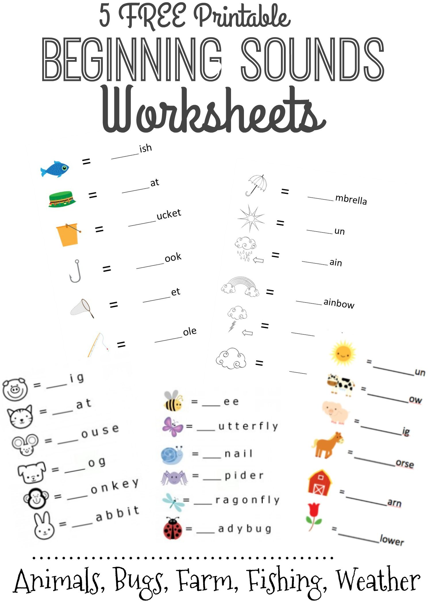 Beginning Sounds Letter Worksheets For Early Learners 1st Grade