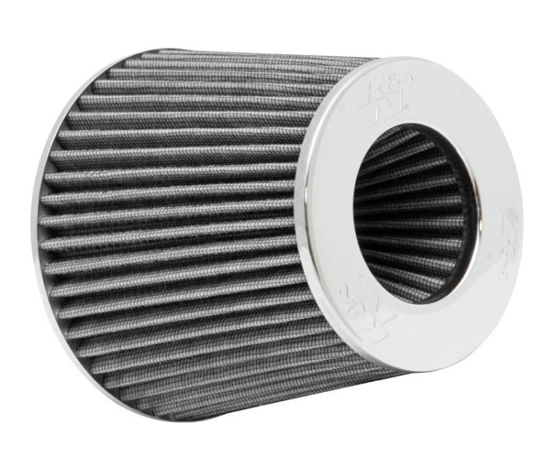 """4/"""" K/&N Universal Air Cone Intake Filter Chrome Round Tapered White Fits 3/"""""""