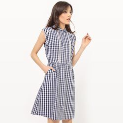 Gingham Printed Dress with Collar MADEMOISELLE R - Clothing
