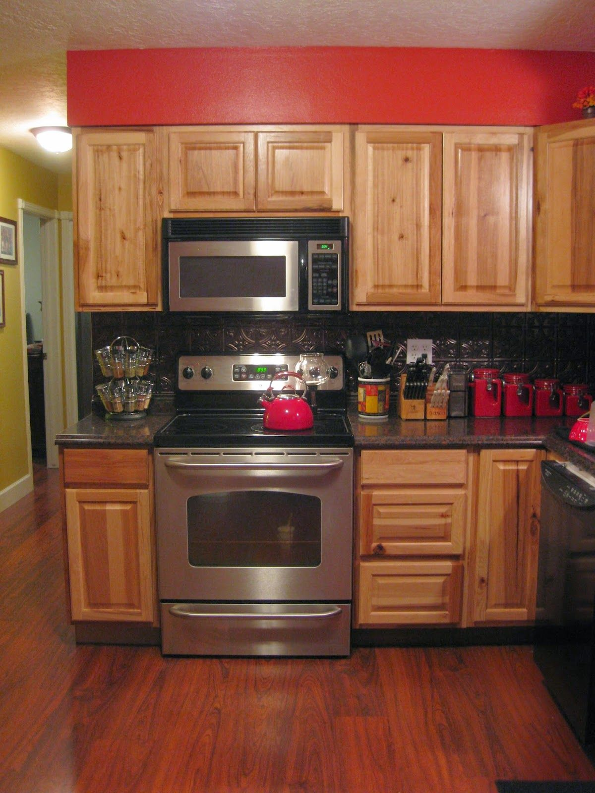 Hickory Cabinetry From Home Depot, Cherry Laminate Flooring, Stainless Steel