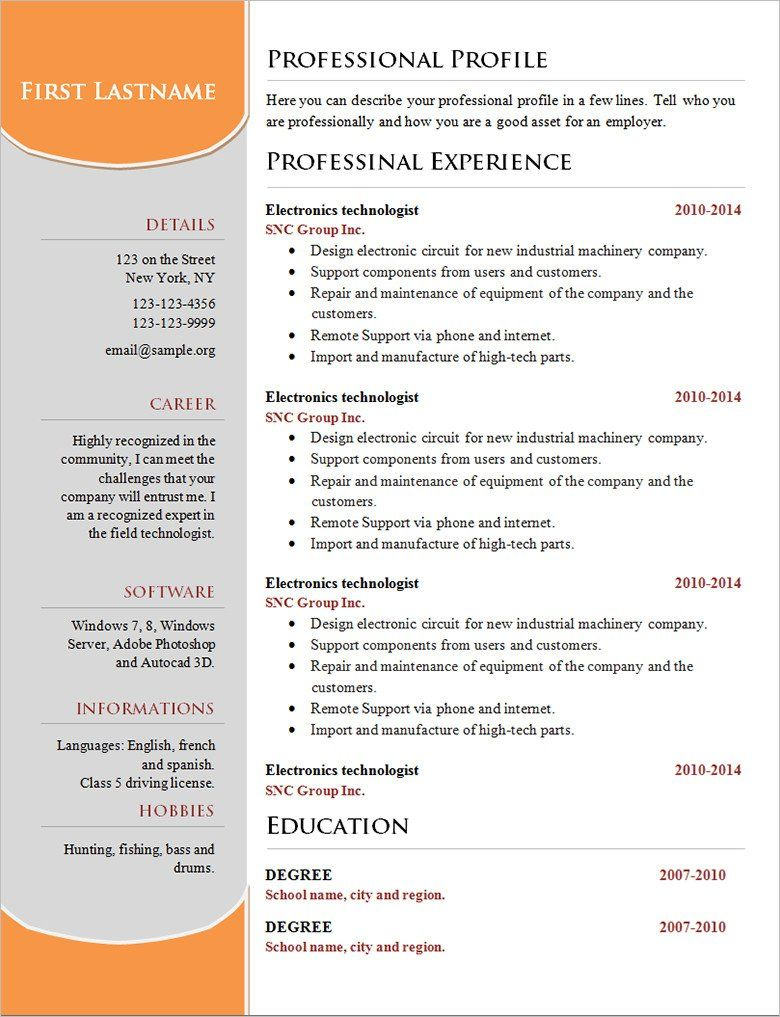 50++ Professional acting resume template ideas