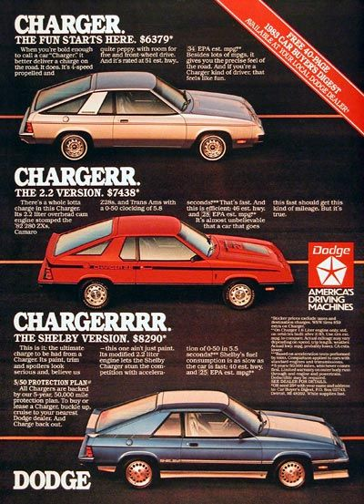 Dodge Charger ad. | 80's Performance cars. Made in Detroit ...