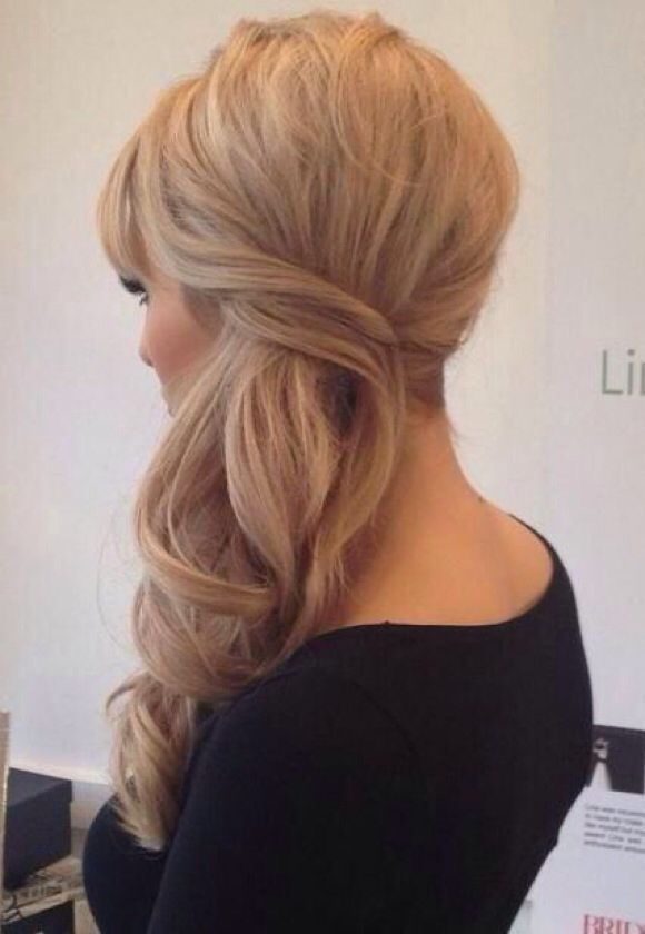 Side Swept Bridal Updo Half Up Half Down Long Hair Styles Hair Styles Bridesmaid Hair