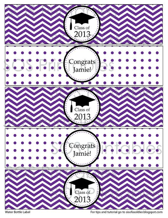 Graduation Water Bottle Labels Printable PDF by SOSPrintables - water bottle label template