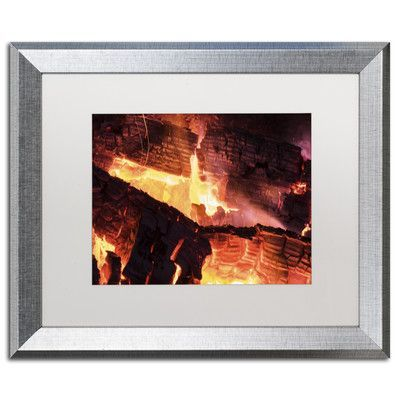 "Trademark Art ""Fireplace"" by Kurt Shaffer Framed Photographic Print Matte Color: White, Size: 16"" H x 20"" W x 0.5"" D"