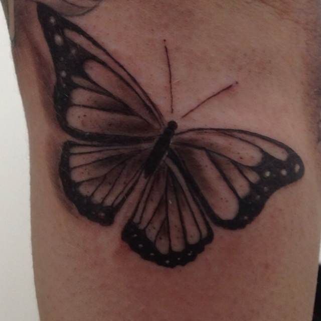 Solid Black Butterfly Tattoo | Black heart tattoos, Black ... - photo#5
