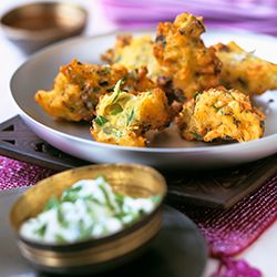 Indian vegetarian appetizer dip these spicy indian potato indian vegetarian appetizer dip these spicy indian potato fritters in creamy yogurt sauce forumfinder Images