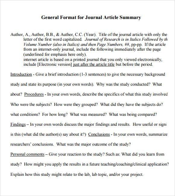 Image Result For Examples Of Article Summary Templates Summary Writing Guided Writing Summary