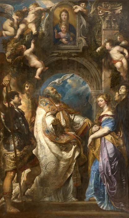 pietrus paulus rubens siegen 1577 anvers 1640 saint gr goire pape entour de saints et de. Black Bedroom Furniture Sets. Home Design Ideas