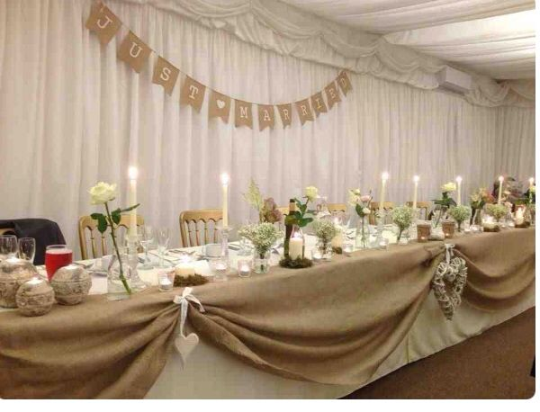 Top Table Hessian Swag