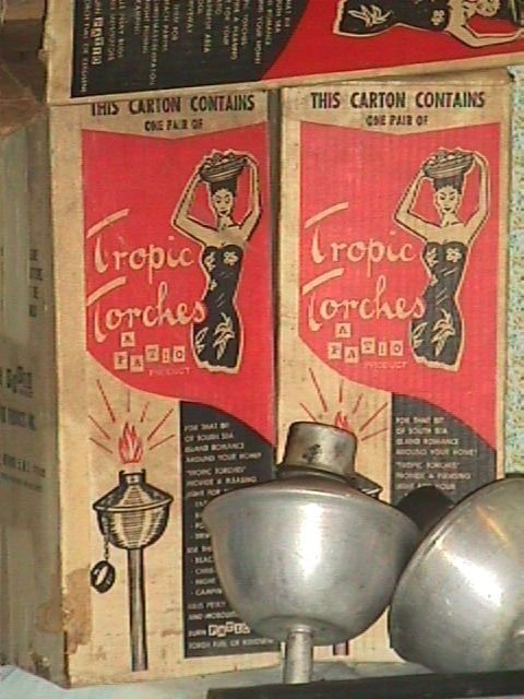 Lot Of 6 Vintage 1950s TROPIC TORCHES ALUMINUM TIKI Party Patio Lanterns In  Box