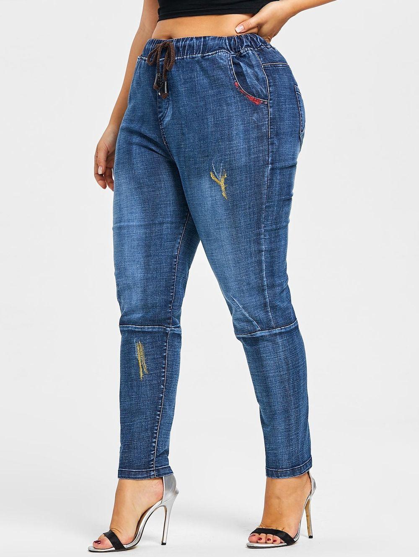 8432d360179 Back Pockets Glitter Embellished Plus Size Jeans - DENIM BLUE 3XL ...
