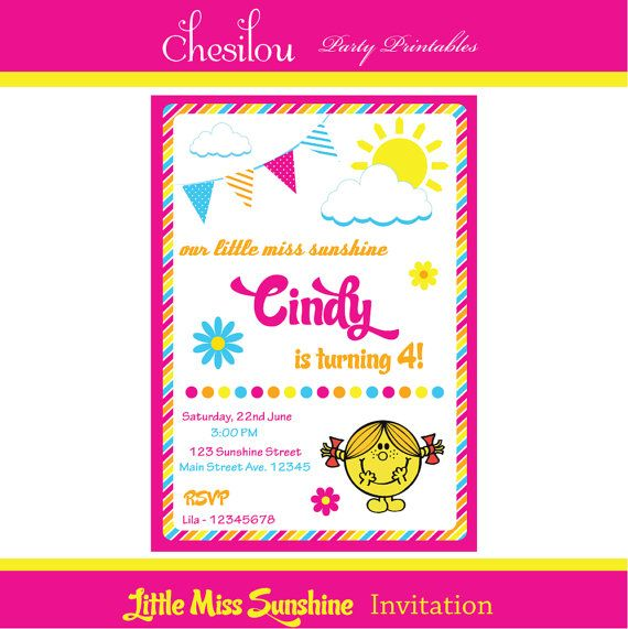 Customized Little Miss Sunshine Printable Birthday Invitation