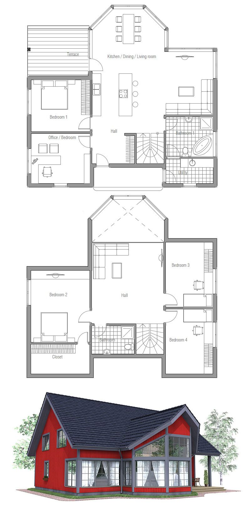 House Plan Ch90 Dream House Plans House Plans Small House Plans
