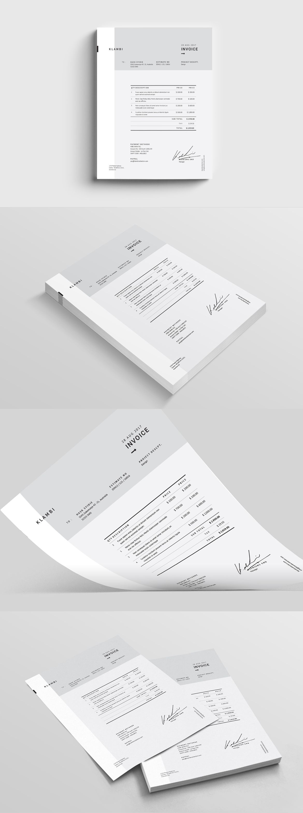 Fashion Invoice Template Indesign Indd Proposal Invoice