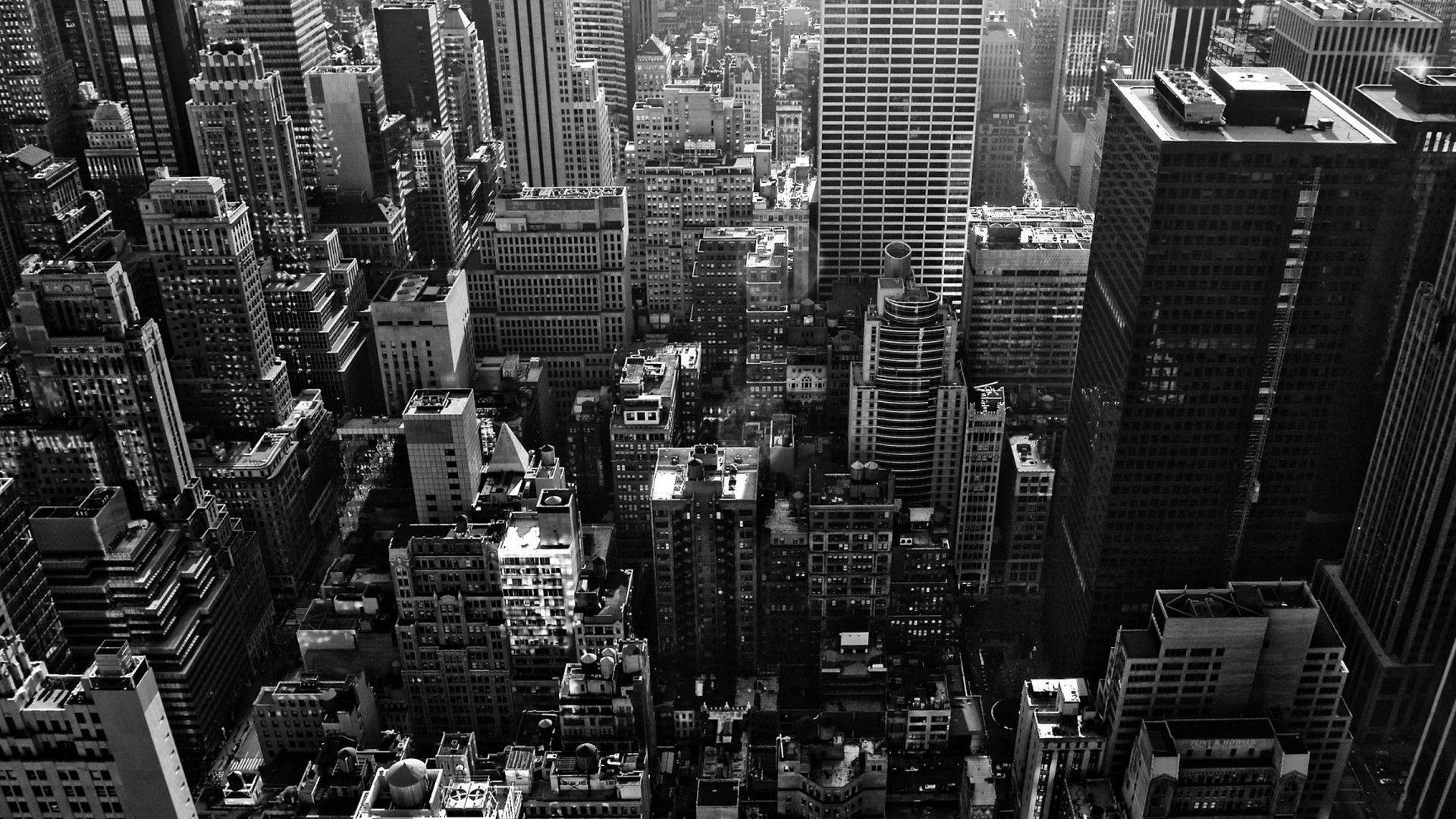 New York City Wallpaper USA Cityscape Statue Buildings Grey Black Shiny Silver