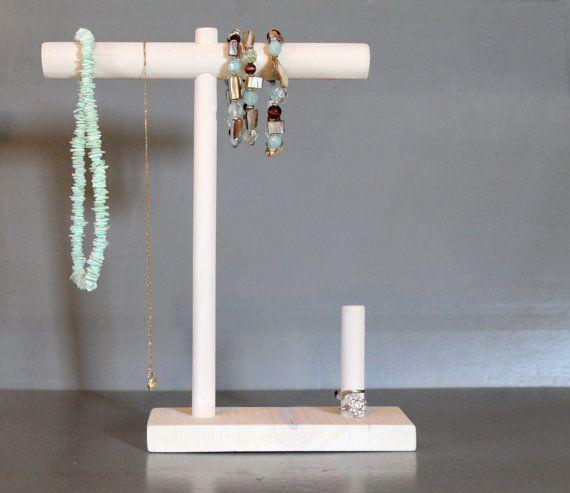 White Wash Jewelry Organizer Necklace Ring Storage Bracelet Holder