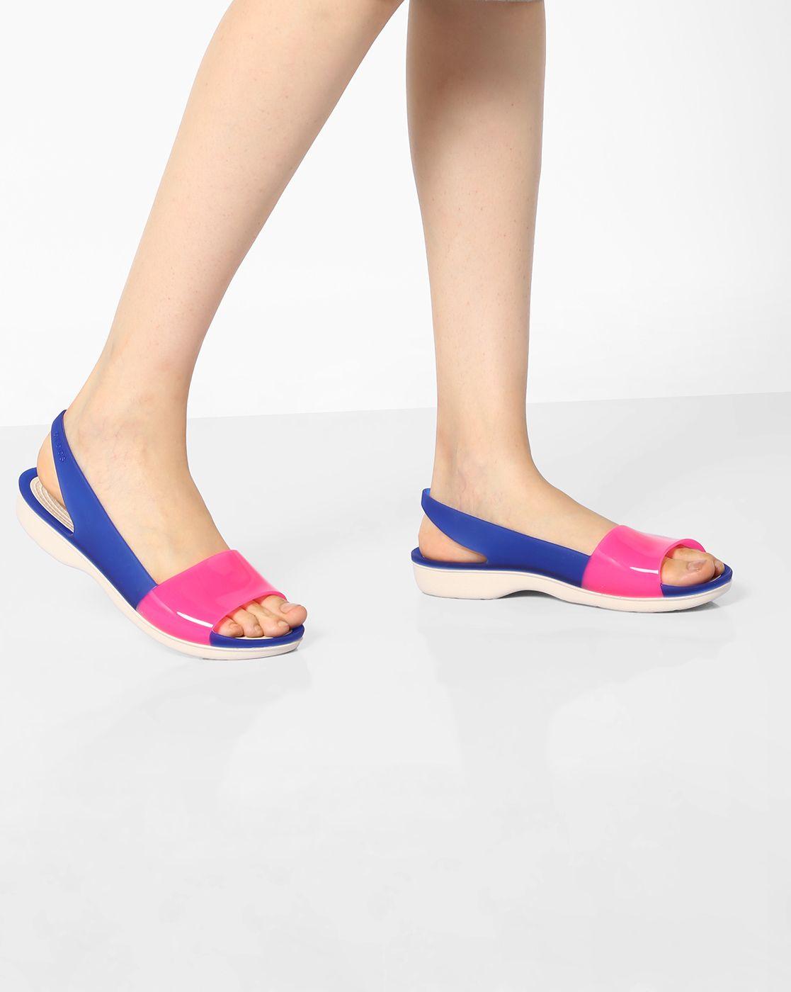 c6fce0a0c Crocs Blue   Pink Croslite Monsoon Sandals with Slingback Strap ...