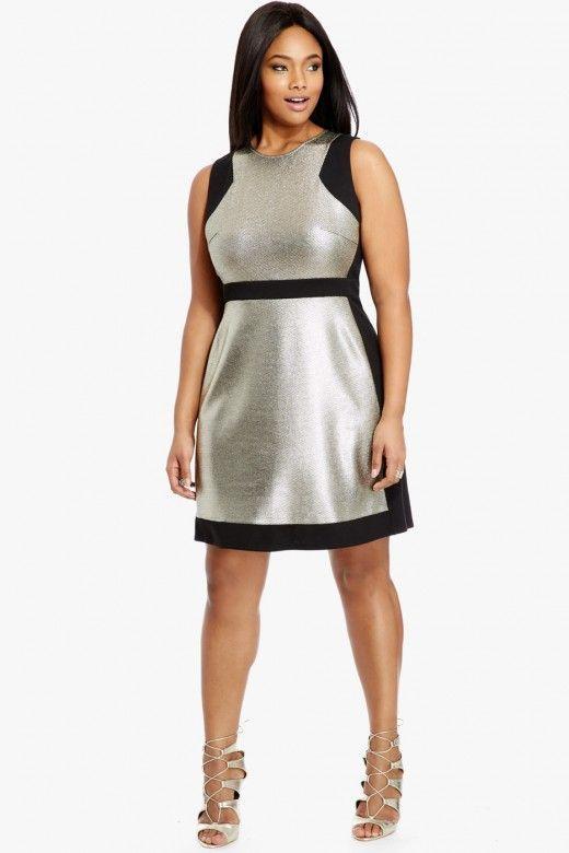Stylish color block dresses for plus size women   Plus size ...
