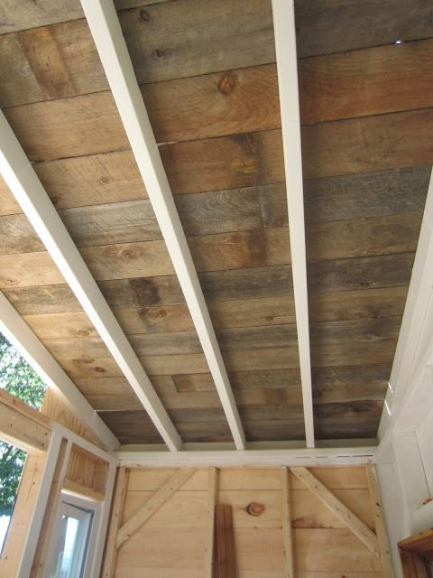 Relaxshacks Com A Recycled Barn Wood Fence Plank Ceiling