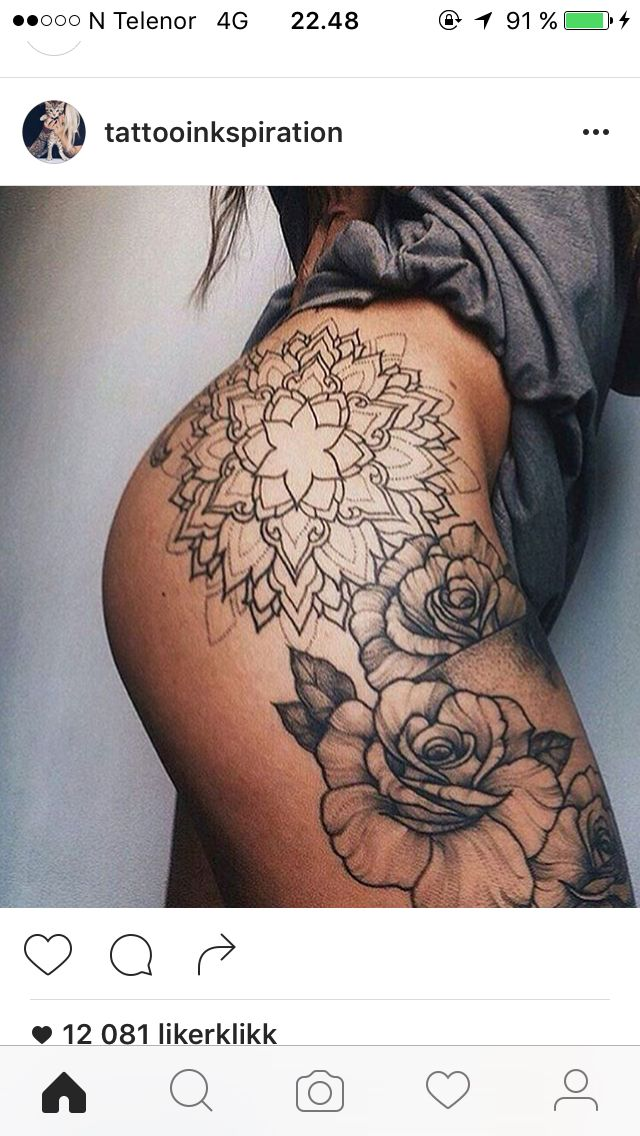 Mandala Hip Thigh Rose Leg Tattoos Tattoos Leg Tattoos Women