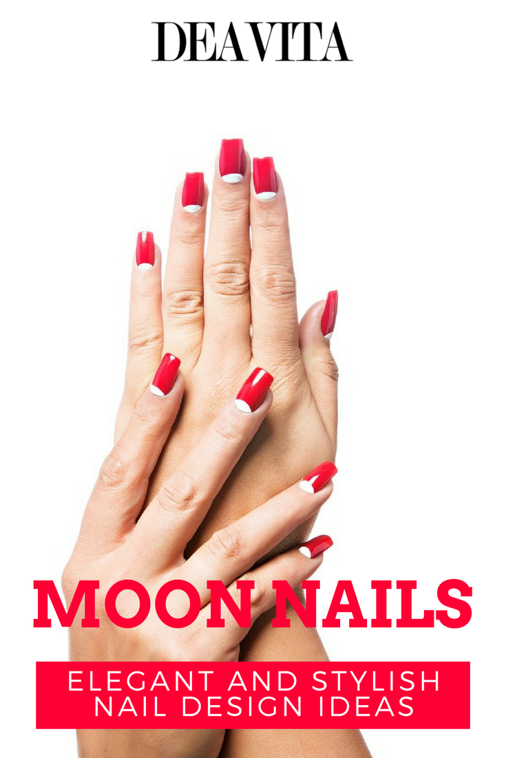 Moon nails combine two contrast color varnishes and the base of the ...