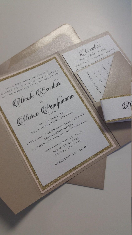 Wedding Invitation Suite Wedding Invitation Pocketfold Wedding