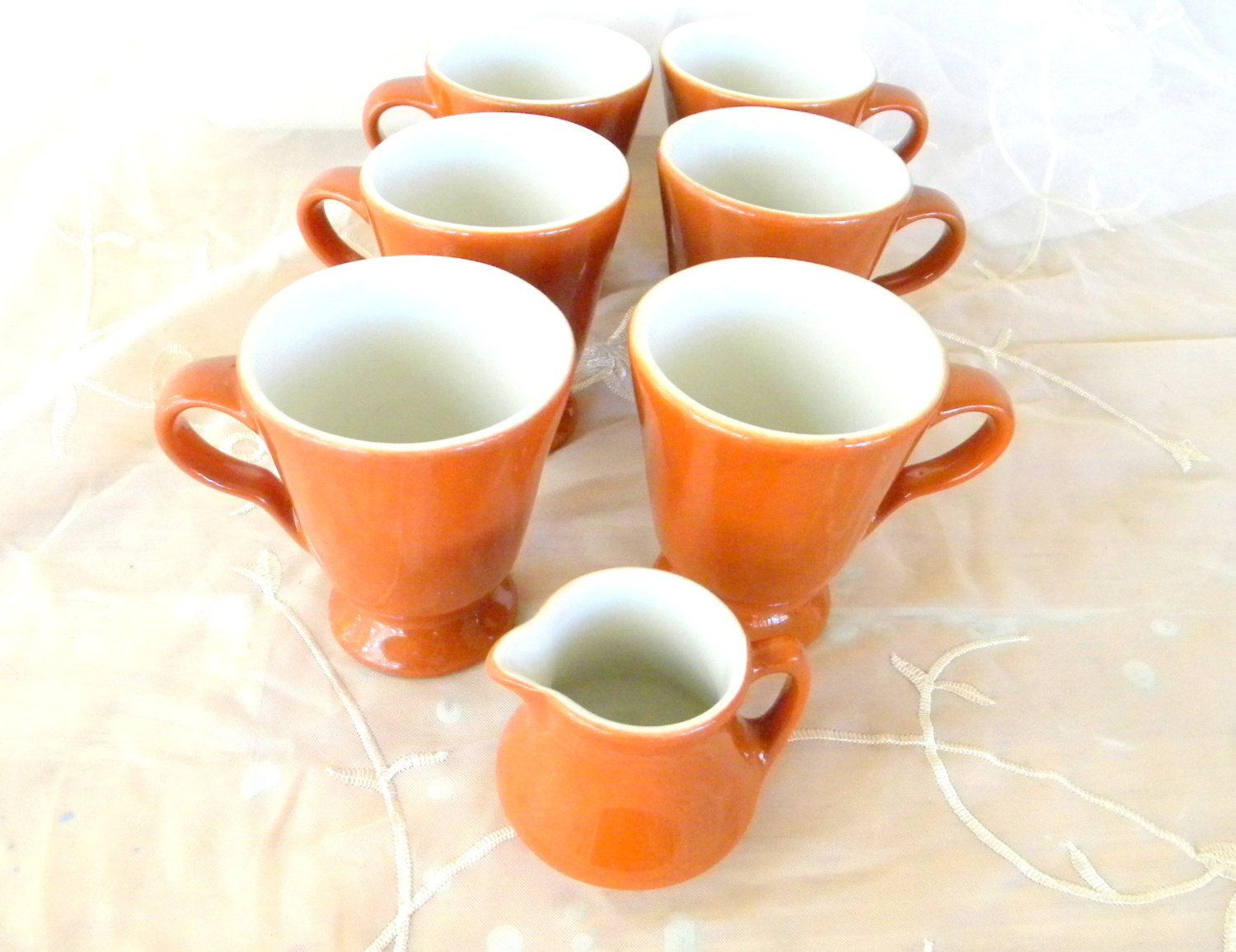 Set Of 6 Sterling Vitrified China Pedestal Mugs And 1 Creamer Rust