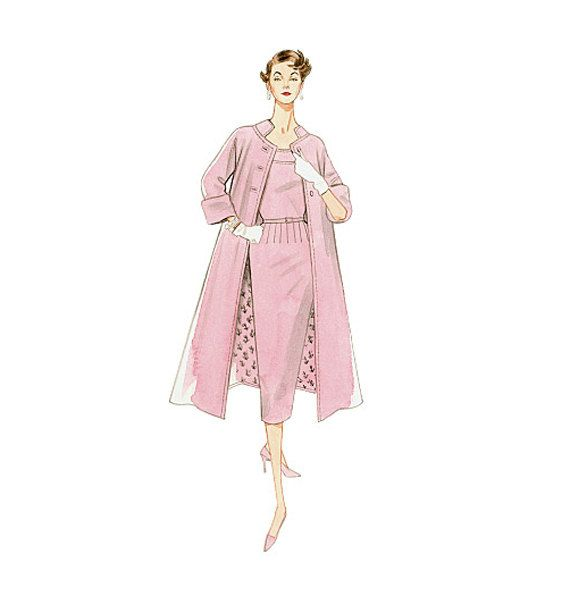 1950s VOGUE COAT & DRESS Pattern Fitted Cocktail Evening Gown Vogue 8687 Reissue Size 16 18 20 22 UNCuT Plus Size Womens Sewing Patterns by DesignRewindFashions on Etsy