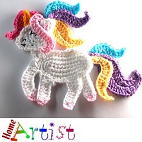 Unicorn Crochet Applique pattern by Homeartist crochet ...