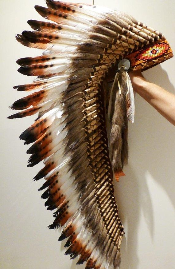 Feather headdress indian style, medium length, warbonnet native american inspired, 3 colors feathers